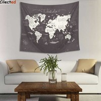 Cilected Polyester World Map Wall Hanging Tapestry Indian Mandala Throw Blanket Room Art Wall Tapestry Home Decor 148x148cm