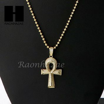 Sterling Silver .925 AAA Lab Diamond ANKH Cross 2.5mm Moon Chain SS010