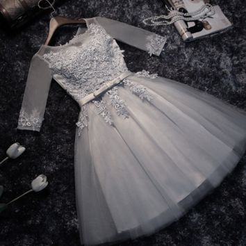 Spring wedding bridesmaid dresses Bridesmaid Dress grey dress skirt homecoming dress