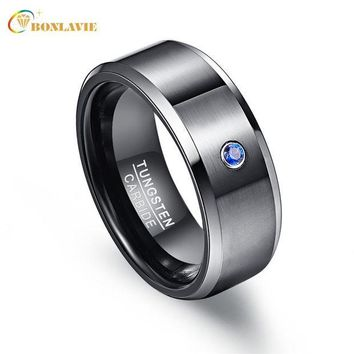 ac spbest Pierscienie 8mm High Men Ring 100% Tungsten Carbide Zircon Black Wedding Bands Anillos para hombres