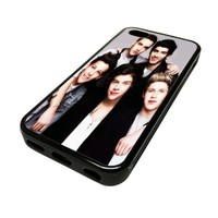 Apple iPhone 5C 5 C Case Cover One Direction Band Group Picture Grey DESIGN BLACK RUBBER SILICONE Teen Gift Vintage Hipster Fashion Design Art Print Cell Phone Accessories