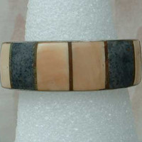 Peach Gray Dyed Bone Cuff Bracelet for Smaller Wrist Vintage Jewelry