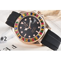 Rolex 2019 new inlaid candy ring men and women models high-end wild quartz watch #2