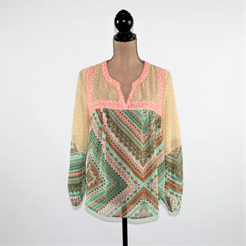 Boho Top Hippie Clothes Chiffon Blouse Sheer Tribal Print Tunic Womens Tops Medium Boho Clothing Womens Clothing