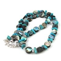 "Paua Abalone Shell Turquoise Necklace 16"" Short Sterling Silver"