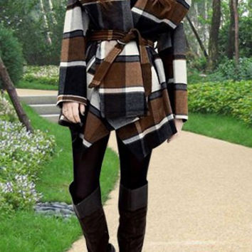 Black and Brown Turn-Down Collar Plaid Print Cape Wool Coat