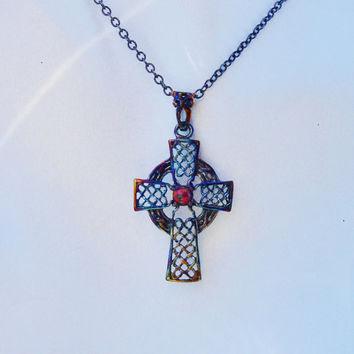 Opal necklace, cross necklace, celtic cross, rosary, red necklace, gemstone cross, black silver necklace,black cross,gothic cross,fire opal