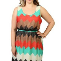 plus size chevron print high low dress with belted waist - 1000046855 - debshops.com