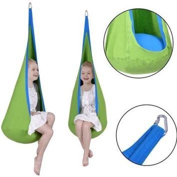 Child Swing Pod Hanging Outdoor Seat Swing Tent Chair Kid Nook GreenChild Garden