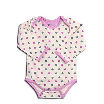 Organic Cotton Baby Onesuit, Long Sleeve - Pink Dots 3 to 12 mo.