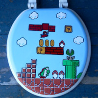 Mario Hand Painted Toilet Seat Nintendo Geekery Video Game Arcade Dad Grad Gift