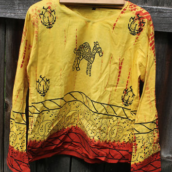 Handmade in India vintage t-shirt/tunic with camel print tie dye accent