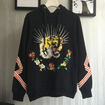 GUCCI Tiger Head embroidered hooded fleece Hoodies
