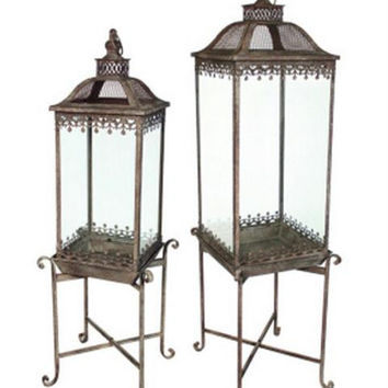 2 Garden Lanterns - To Hold Plants, Candles, Etc