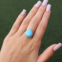 Blue Cute Candy M&Ms Adjustable Size 6.25 Silver Ring