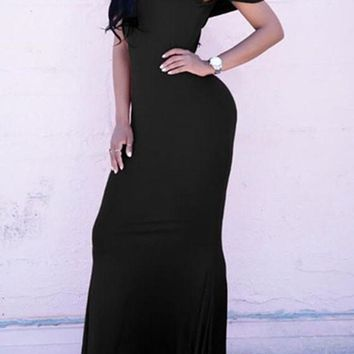 Black Peplum Draped Boat Neck Off-shoulder Prom Mermaid New Year Party Maxi Dress