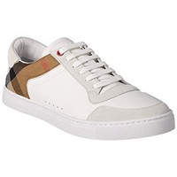 BURBERRY Leather & House Check Low-Top Trainer, 40, White
