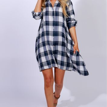 Plaid At It Dress Blue