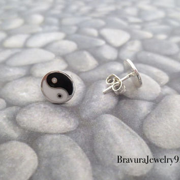 Vintage Sterling Silver Yin and Yang Post Earrings