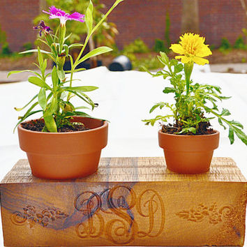 Personalized Modern Monogram Custom Wood Indoor Planters Small Box Gift For Gardener, Wedding, Anniversary, Family. Home Decor