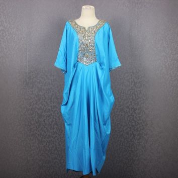 Satin Caftan Maxi Dress / Blue Sequin Caftan Dress / One Size Fits All Dress / Vintage Sequin and Beaded Dress One Size fit up 3XL