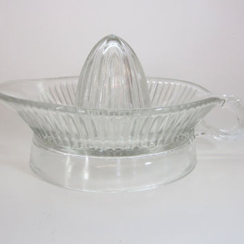 Vintage Glass Citrus Juicer, Orange, Lemon, Lime, Reamer with spout and handle