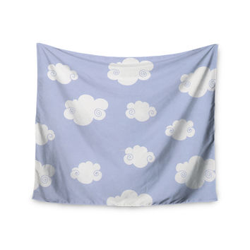 "Heidi Jennings ""Happy Clouds"" White Blue Wall Tapestry"