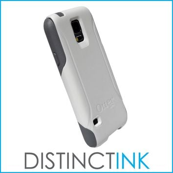 DistinctInk™ Custom White OtterBox Commuter Series Case for Samsung Galaxy S5 - Marijuana Leaf Drawing