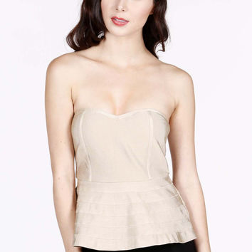 Peplum Luxe Top in Taupe