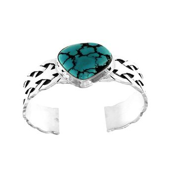Natural Turquoise Cuff Bracelet In Sterling Silver With Weave Pattern