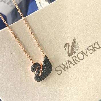 KUYOU S069 Swarovski crystal small black swan rose gold necklace dc43c2f2e
