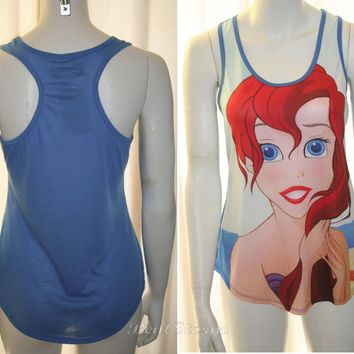 Licensed cool NEW Disney Little Mermaid Ariel Blue Racerback Tank Top Blouse Shirt  Hot Topic