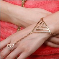Fashion Triangle Ring Chained Bracelet