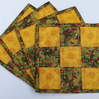 Quilted Mug Rugs, mug rugs, mug rug set, quilted coasters, coasters, patchwork coasters, patchwork mug rugs, gold, yellow, green, rust, red