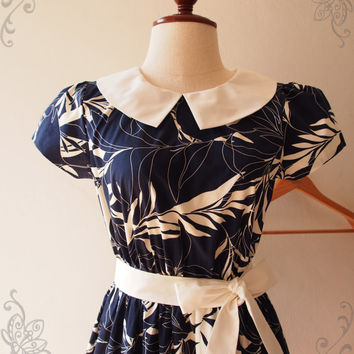 Navy Collar Sleeve Dress Vintage Retro Nature Print Working Midi Wedding Party Summer Tea Dress - XS-XL, Custom