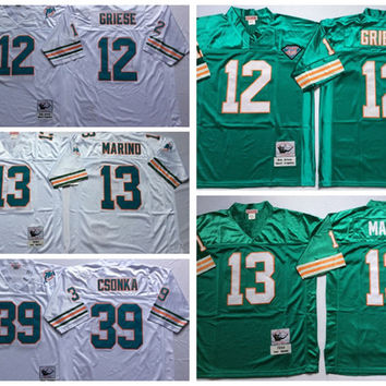 Cheap Throwback Football Jerseys 12 Bob Griese Jersey 13 Dan Marino 39 Larry Csonka Retro Stitched Jersey Mens Vintage Shirts Teal Green