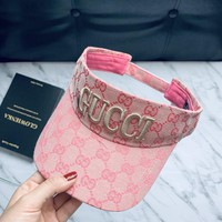 GUCCI Women Fashion Embroidery Sport Sun Visor Hat Cap
