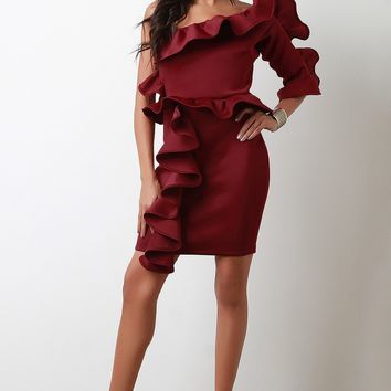 Statement Ruffled One Shoulder Midi Dress