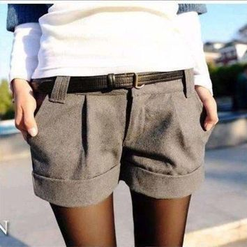VONE05F8 2018 2018  Fashion autumn and winter women woolen bootcut short pants plus large big size casual shorts black grey