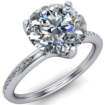 8.5mm Round Moissanite 950 PLATINUM 3 PRONG SET DIAMOND SOLITAIRE RING