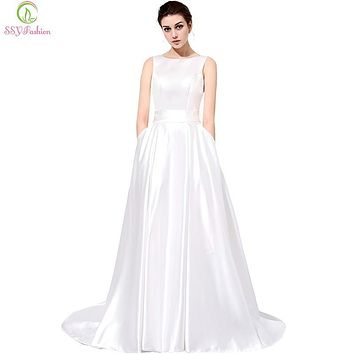 SSYFashion The Bride Banquet Elegant Long Evening Dress Simple White Satin Sexy Backless Sleeveless Sweep Train Party Prom Gown