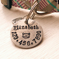 "Hand Stamped Dog Tag - 1"" Pet ID Tag - Cat ID Tag - Handmade Pet Accessories - 1 inch Aluminum Circle Pet ID Tag - Arrows Anchor Pawprint"