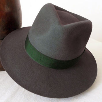 Dark Olive Green Wool Felt Fedora - Wide Brim Merino Wool Felt Handmade Fedora Hat - Men Women