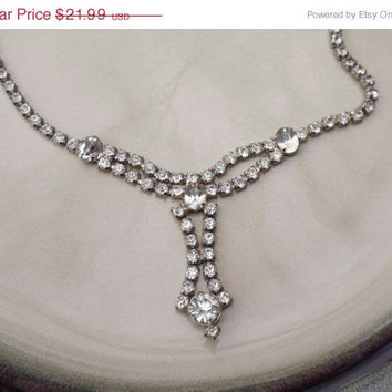 vintage rhinestone 1930's necklace faux diamonds silver