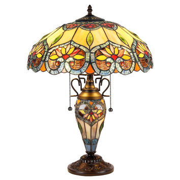 "Crystorama, Tiffany-Style 3 Light Victorian Double Lit Table Lamp 16"" Shade"