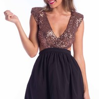 Medallion dress in black bronze sequin | SHOWPO Fashion Online Shopping