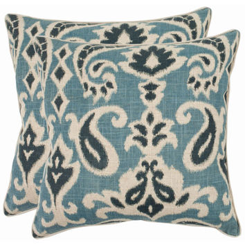 Safavieh Home Furniture PIL834C-2222-SET2 Brian 22-Inch Porch Blue Decorative Pillows, Set of 2