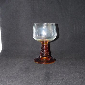Vintage Goblet, Roemer Style Glass, Amber Glass, Orange, Ribbed Stem, Stemware, Glassware