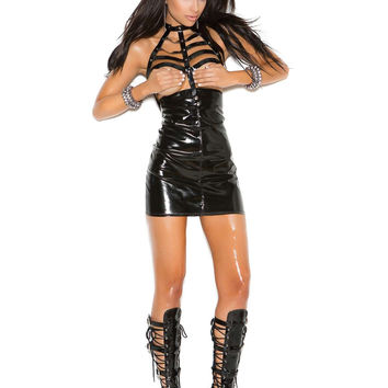 Vinyl cupless mini dress with caged neck and zipper back  Black