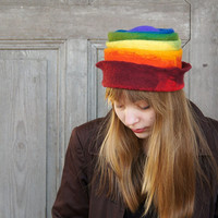 Rainbow felted hat , fancy toque hat, warm wool hat. OOAK